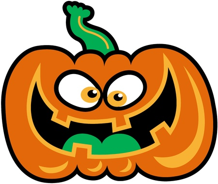 malicious: Evil orange pumpkin laughing excitedly while staring at you in a malicious way Illustration