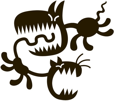 dog bite: Proiettato cane nero con affilare i denti in esecuzione dopo un gatto grida molto spaventato e pronto a mordere la coda