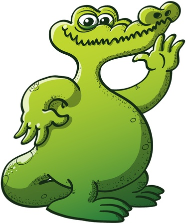 big mouth: Nice chubby green crocodile with big mouth raising his left hand to wave hello while smiling shyly in a very nice attitude Illustration