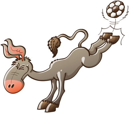 Excited gray donkey with big ears kicking violently a soccer ball with the hooves of his hind legs while smiling enthusiastically and clenching his eyes