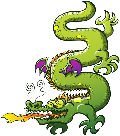 Green snake-like dragon with spines, purple bat wings and a long tail while contorting and twisting its body and making a big effort to spit fire while clenching his eyes  Vector