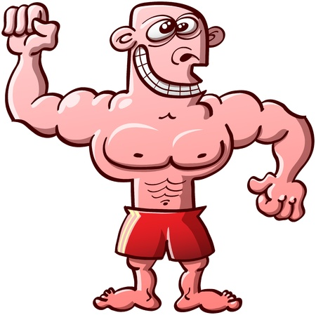 clenching: Funny, proud and odd bodybuilder wearing red shorts and smiling weirdly while clenching his fists and showing his muscles