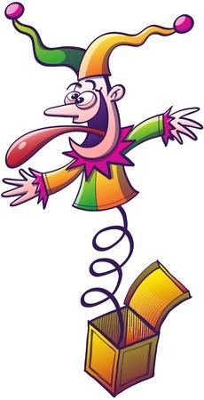 lengua larga: Loco buf�n vestido colorido, sonriendo con entusiasmo, mostrando una expresi�n enojada y pegar su larga lengua mientras rebotando y saliendo de una peque�a caja amarilla