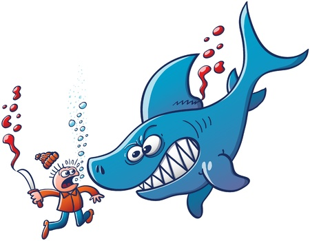 dorsal: Underwater scene featuring a furious big blue shark which shows its sharp teeth while fighting back and sinking the scared finner who has just tried to cut and remove its dorsal fin with a knife