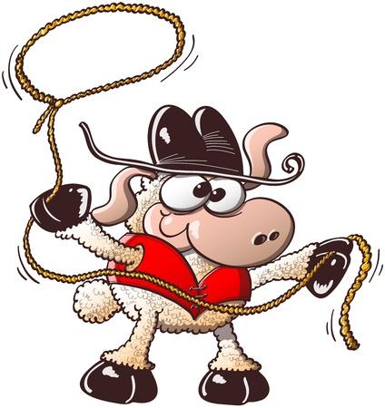 Ovejas divertidas con los ojos desorbitados, vistiendo elegante sombrero y un chaleco rojo como un vaquero mientras se prepara a la cuerda en un evento de rodeo