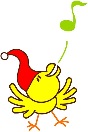 excitation: Cute yellow bird with red Christmas hat while extending its wings, raising its head, dancing and blowing animatedly a musical note to celebrate Christmas Illustration