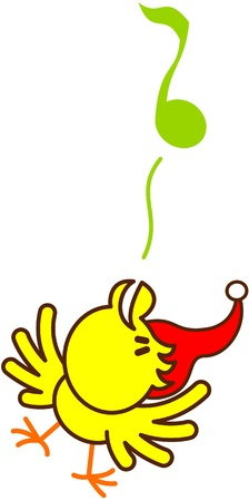 Un bonito y peque�o p�jaro amarillo con sombrero rojo de la Navidad mientras extiende sus alas, levantando la cabeza, de pie sobre una pierna y piar melodiosamente una nota musical para celebrar la Navidad