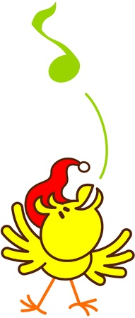 Nice yellow bird with red Christmas hat while extending its wings, raising its head and singing in an inspired way to celebrate Christmas