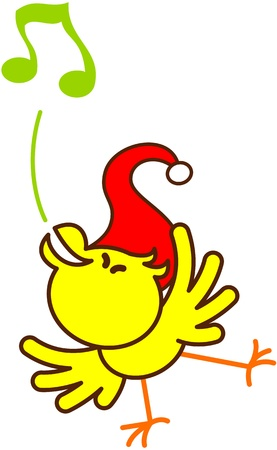 excitation: Cute yellow bird with red Christmas hat while balancing, standing on one leg and singing in an enthusiastic way to celebrate Christmas Illustration