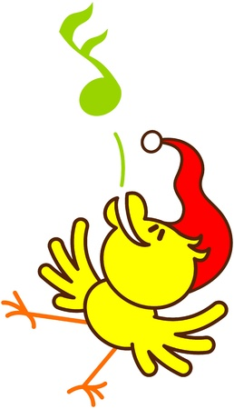 excitation: Cute yellow bird with red Santa hat while dancing and singing in a joyful way to celebrate Christmas