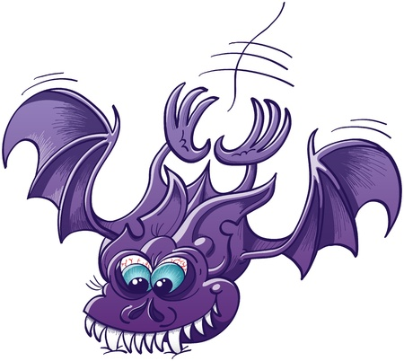 Funny purple bat with big blue eyes and big pointy ears while extending his body, wings and legs to land precipitately and sink his sharp fangs deeply into a surface  Vector
