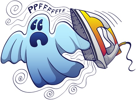 scaring: Frightened blue ghost, bed-sheet shaped style escaping from an evil yellow iron which is expelling steam and making scaring noises