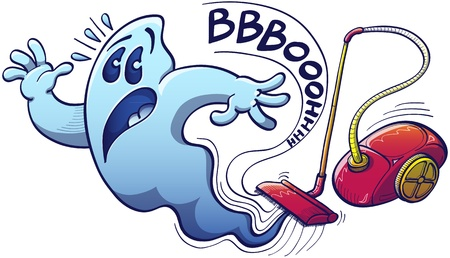 Terrified blue ghost in trouble trying to escape from being sucked with great power by a red evil vacuum cleaner which emits an onomatopoeic scaring noise Stock Vector - 21989082