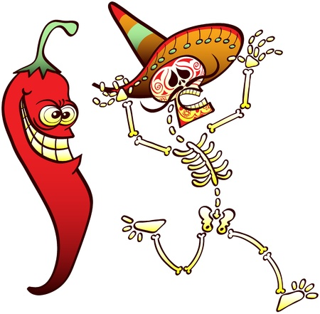 Funny Mexican skeleton beautifully decorated wearing a big hat, running away and shouting after having met a terrifying red chili hot pepper with a very evil expression