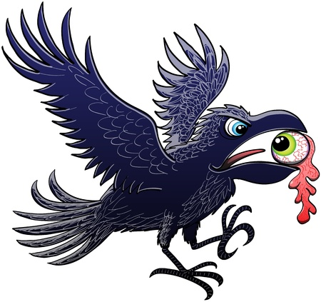 Evil raven extending and flapping its wings for landing after having ripped and stolen a green eye, which keeps perplex staring at the raven, with its powerful beak