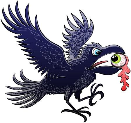 Raven Evil ampliar y batiendo sus alas para aterrizar despu�s de haber arrancado y robado un ojo verde, que mantiene perplejos mirando el cuervo, con su poderoso pico