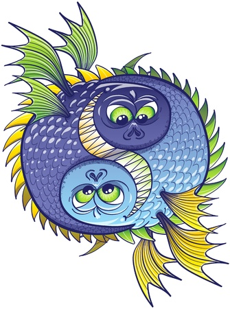 Yin yang conformed by two malicious fish like monsters with sharp teeth and pointy fins which stare at each other while preparing to attack and break the harmony of the circle  イラスト・ベクター素材
