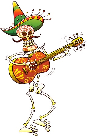 Colorfully decorated skeleton with a big Mexican hat and a huge mustache when smiling and playing guitar happily