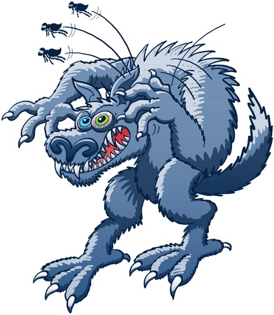 monstrous: Terrific werewolf in trouble while experimenting a big desperation, scraping its ear with its claw to relieve itching and getting rid of the three huge and monstrous fleas that were attacking it Illustration