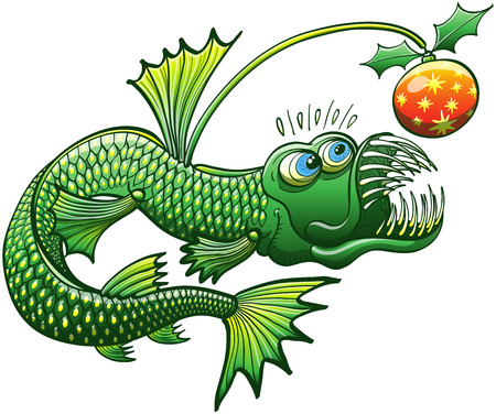 mismatch: Scary deep sea fish being surprised when looking at a Christmas ball with holly leaves, instead of a luminescent esca, at the end of its long prominent spine filament