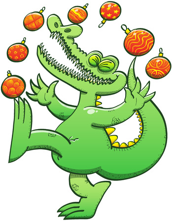 Cool alligator having fun while laughing loudly, raising his arms and a leg and juggling beautiful Christmas balls with a lot of energy and talent Vector