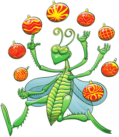 Green grasshopper while smiling, clenching its eyes, jumping and juggling beautiful Christmas balls with great enthusiasm Vector