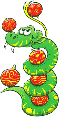wreathe: Green snake with sharp fangs, yellow spots and stripes while sticking its tongue out and wreathing its body to be able to play with a maximum of Christmas balls