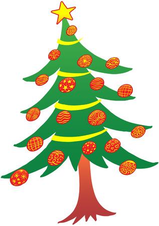 arbre     ? � feuillage persistant: Grand arbre � feuilles persistantes avec une �toile de cinq points sur le dessus et d�cor�e avec de belles boules rouges et jaunes pour la c�l�bration de No�l