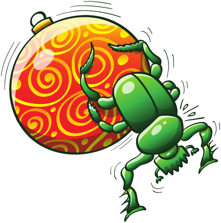 hind: Green dung beetle making its best effort to push and roll a beautifully decorated Christmas ball with its middle and hind legs Illustration