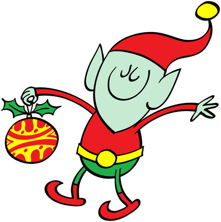 pointy ears: Cute green elf with pointy ears wearing a red hat, walking and holding a Christmas bauble with his right hand