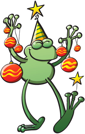 Cool green frog wearing a hat, closing its eyes and holding decorative baubles and stars while smiling and celebrating Christmas Vector