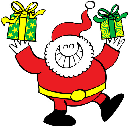 excitation: Cute Santa Claus while grinning, raising a leg and holding beautiful Christmas presents with his hands up