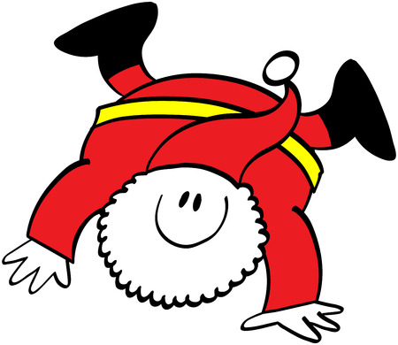 cartwheel: Cute Santa Claus while smiling, having fun and performing a stunning cartwheel with great grace and confidence