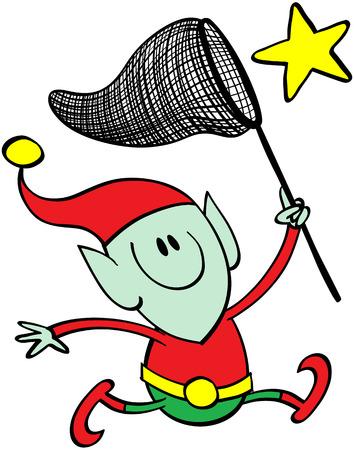 zapatos caricatura: Lindo elfo de Navidad despu�s de correr una estrella amarilla brillante con una gran red