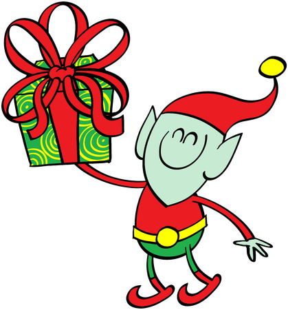 green elf: Cute green elf smiling and holding up and giving a beautifully decorated Christmas present Illustration
