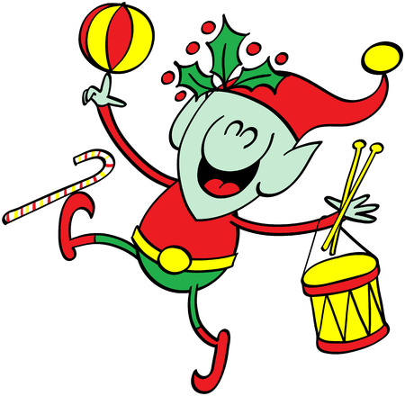 ni�os divirtiendose: Duende verde lindo sonr�e y se divierte jugando con los juguetes de Navidad, como un tambor, una pelota y un bast�n de caramelo
