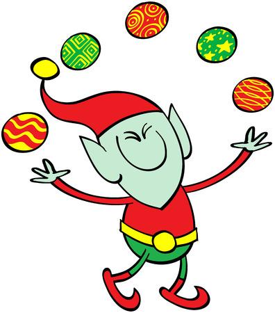 Lindo elfo de Navidad sonriente, apretando los ojos y haciendo malabares con bolas de Navidad con gran entusiasmo