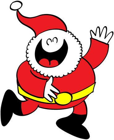 say hello: Cute Santa Claus laughing animatedly and raising his left arm to say hello