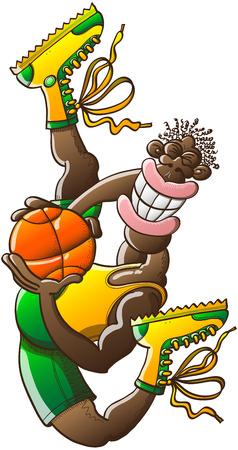 İnce siyah basketbol oyuncusu bir akrobatik yüksek atlama yaparken, sarı tankı ve botlar ve yeşil şort giyen sırıtarak poz ve sıkıca top tutan