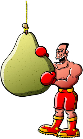 Cool smiling boxer wearing red gloves, shorts and boots while posing and going to bit his boxing bag in form of an appetizing pear fruit