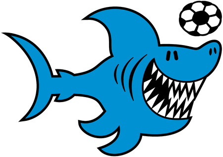 Cool blue shark with sharp teeth swimming animatedly while playing with a soccer ball Illustration