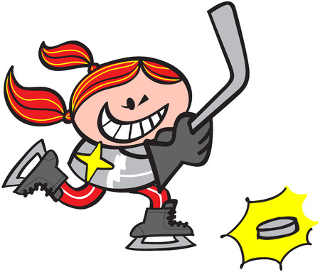 cartoon hockey: Mischievous red haired girl grinning, winking, skating and shooting a hard rubber puck with her stick while playing ice hockey Illustration
