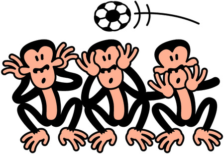 Three wise monkeys doing the opposite to what they are supposed to do, because there s a soccer ball flying above their heads  When soccer is on the air, they prefer to see, to hear and to speak Illusztráció
