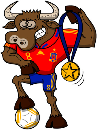 Strong bull wearing a red shirt and blue shorts, grinning and posing proudly while showing a gold medal with a star and stepping on a soccer ball Illustration