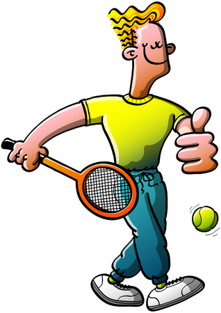 Cool tennis man smiling, holding a racquet and making an OK hand gesture while going to play tennis