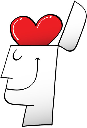 Side view of of a proud man while smiling and showing a red heart in top of his opened head instead of a brain Vector