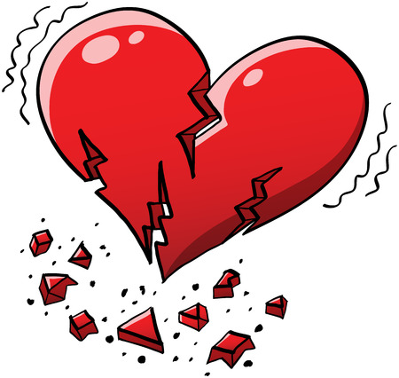 Red heart floating, trembling and starting to crack and tearing apart into pieces like in a heartquake