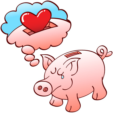 Cute piggy bank tenderly dreaming of deposits of red hearts instead of coins Illustration
