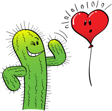 mischievous: Mischievous spiny green cactus trying to attract a surprised and innocent red heart balloon by winking, making signs with a hand and smiling naughtily Illustration