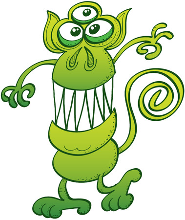 pointy ears: Green monkey-like monster with three eyes, pointy ears, curled tail and sharp teeth while smiling and posing